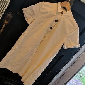 Shirt dress. Eggshell color cotton.
